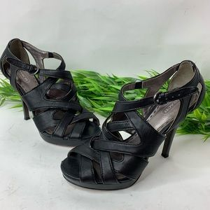 Coach Womens Sz 6.5 Black Sexy Strappy Heels